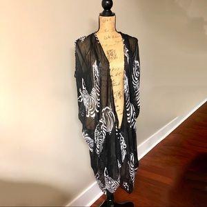Tops - NWOT Kimono Gypsy Festival Zebra Print One Size